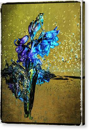 Canvas Print featuring the mixed media Bluebells In Water Splash by Peter v Quenter
