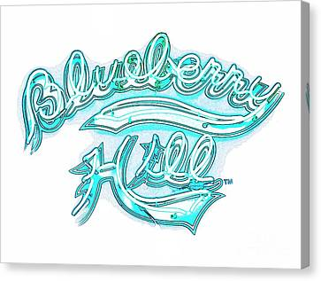 Blueberry Hill Inverted In Neon Blue Canvas Print