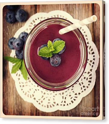 Blueberry Smoothie Retro Style Photo.  Canvas Print