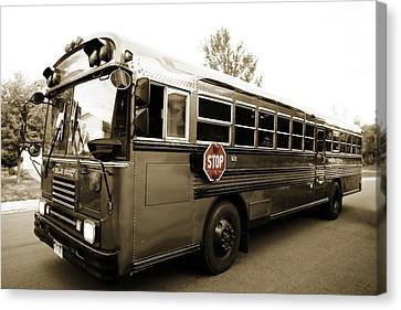 Stop Sign Canvas Print - Bluebird Bus Limo 3 by Marilyn Hunt