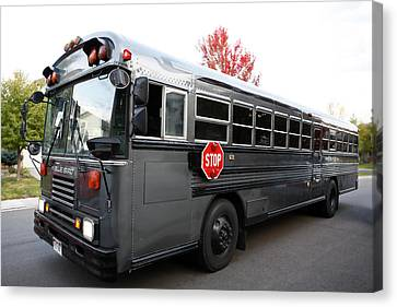 Stop Sign Canvas Print - Bluebird Bus Limo by Marilyn Hunt