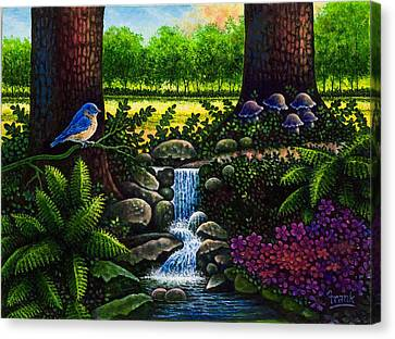 Canvas Print featuring the painting Bluebird by Michael Frank