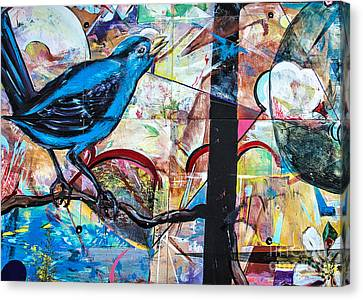 Canvas Print featuring the mixed media Bluebird Signs by Terry Rowe