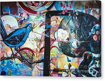 Canvas Print featuring the mixed media Bluebird Sings by Terry Rowe