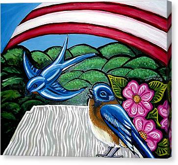 Bluebirds With Flag Canvas Print by Genevieve Esson