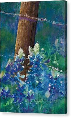 Bluebonnets At The Fencepost Canvas Print
