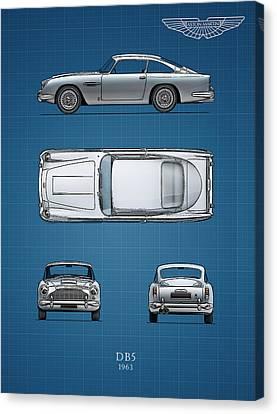 Aston Martin Canvas Print - Blueprint Aston Martin Db5 by Mark Rogan