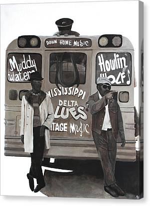 School Bus Canvas Print - Blues Bus by Patrick Kelly