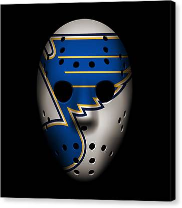 Goalie Canvas Print - Blues Goalie Mask by Joe Hamilton
