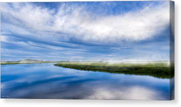Blues On Moon River - Panorama Canvas Print by Mark E Tisdale
