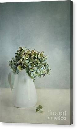 White Pearl Canvas Print - Blues by Priska Wettstein