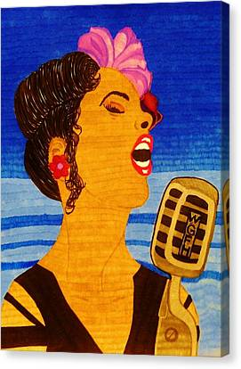 Canvas Print featuring the drawing Blues Singer by Celeste Manning