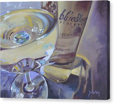 Bluestone Traminette And Glass Canvas Print by Donna Tuten