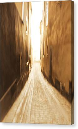Blurred Alley - Monochrome Canvas Print