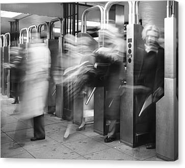 Canvas Print featuring the photograph Blurred In Turnstile by Dave Beckerman
