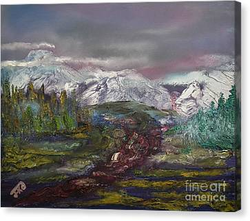 Canvas Print featuring the painting Blurred Mountain by Jan Dappen
