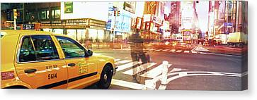 Blurred Traffic In Times Square, New Canvas Print