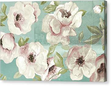 Blush Flowers On Teal Canvas Print by Patricia Pinto