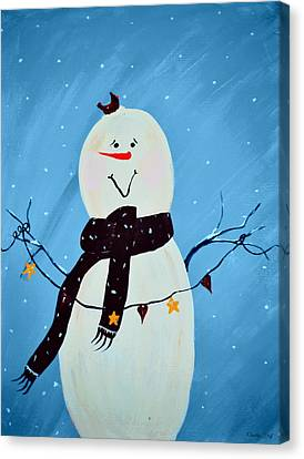 Blushing Snowman Canvas Print by Chastity Hoff