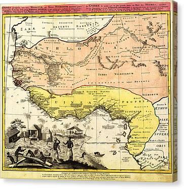 Bm0588 - Map Of Western Africa 1743 Canvas Print by Homann Erben