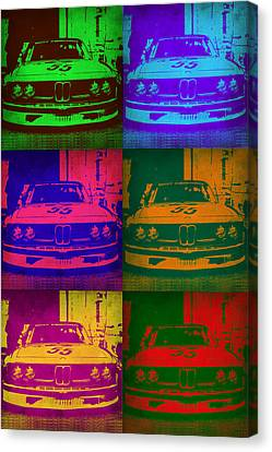 Bmw Vintage Cars Canvas Print - Bmw 2002 Front Pop Art 1 by Naxart Studio