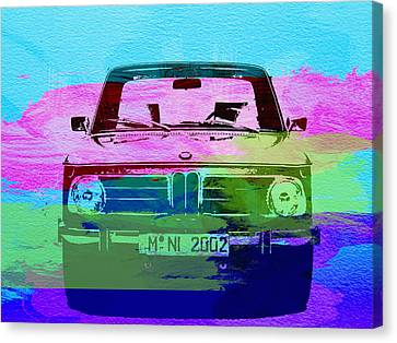 Bmw Vintage Cars Canvas Print - Bmw 2002 Front Watercolor 1 by Naxart Studio