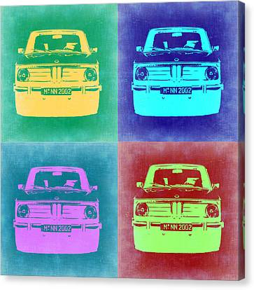 Bmw Vintage Cars Canvas Print - Bmw 2002 Pop Art 1 by Naxart Studio