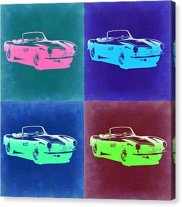 Bmw Vintage Cars Canvas Print - Bmw 507 Pop Art 2 by Naxart Studio