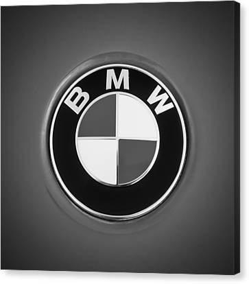 Bmw Vintage Cars Canvas Print - Bmw Emblem -0460bw by Jill Reger