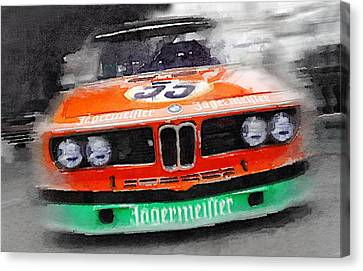 Bmw Canvas Print - Bmw Front End Watercolor by Naxart Studio