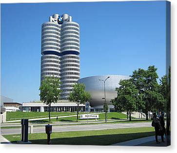 Canvas Print featuring the photograph Bmw Head Quaters by Pema Hou