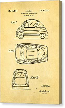 Auto-portrait Canvas Print - Bmw Isetta Automobile Patent Art 1954 by Ian Monk