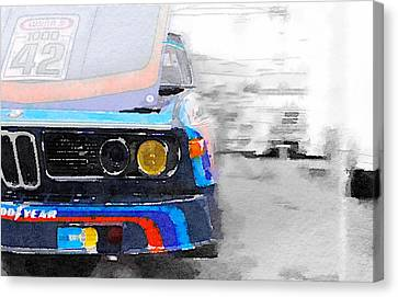 Bmw Vintage Cars Canvas Print - Bmw Lamp And Grill Watercolor by Naxart Studio