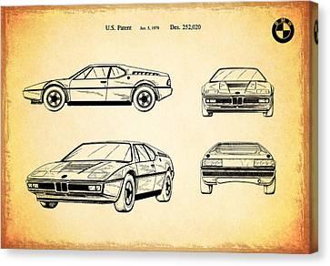 Bmw M1 Patent 1979 Canvas Print by Mark Rogan