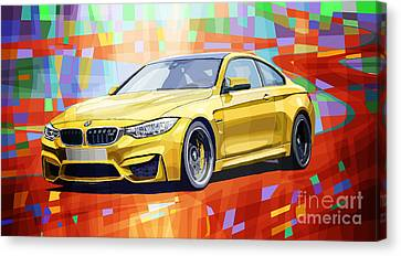 Bmw Canvas Print - Bmw M4 Orange by Yuriy Shevchuk