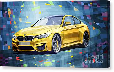 Bmw Canvas Print - Bmw M4 Blue by Yuriy Shevchuk
