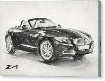 Bmw Z4 Sketch Canvas Print by Taylan Apukovska