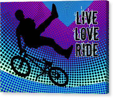 Bmx Fractal Movie Marquee Live Love Ride Canvas Print