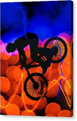 Bmx In Light Crystals And Lightning Canvas Print by Elaine Plesser