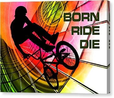 Bmx In Lines And Circles Born Ride Die Canvas Print