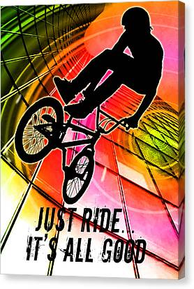 Bmx In Lines And Circles Just Ride It's All Good Canvas Print