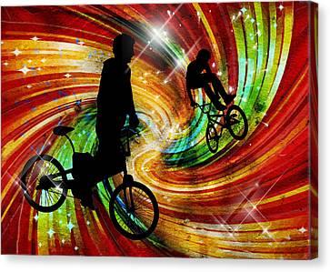 Bmxers In Red And Orange Grunge Swirls Canvas Print