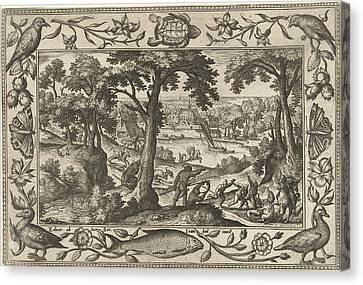 Boar Hunt, Adriaen Collaert, Eduwart Hoes Winckel Canvas Print