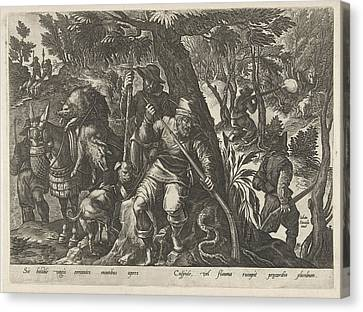 Boar Hunting With Guns, Philips Galle Canvas Print