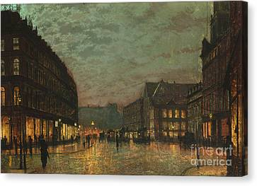 Boar Lane Leeds By Lamplight Canvas Print by Celestial Images