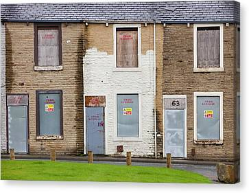 Boarded Up Terraced Houses In Burnley Canvas Print