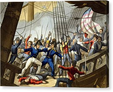 Boarding And Taking The American Ship Canvas Print by William Heath