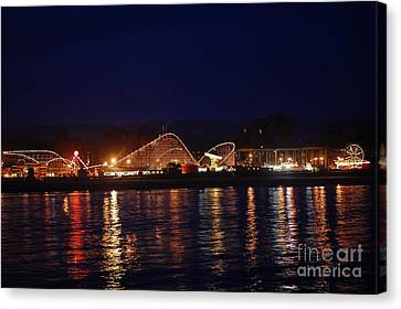 Santa Cruz Boardwalk At Night Canvas Print by Debra Thompson