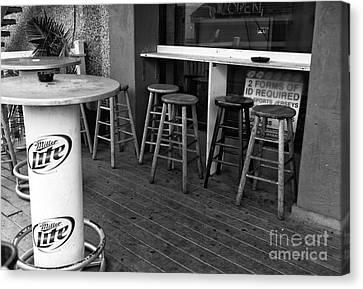 Boardwalk Bar Seats Mono Canvas Print
