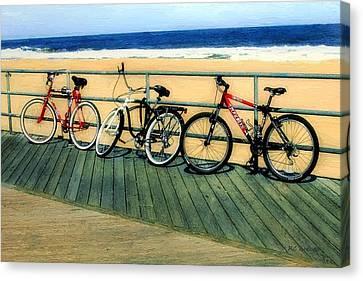 Boardwalk Bikes Canvas Print by RC deWinter